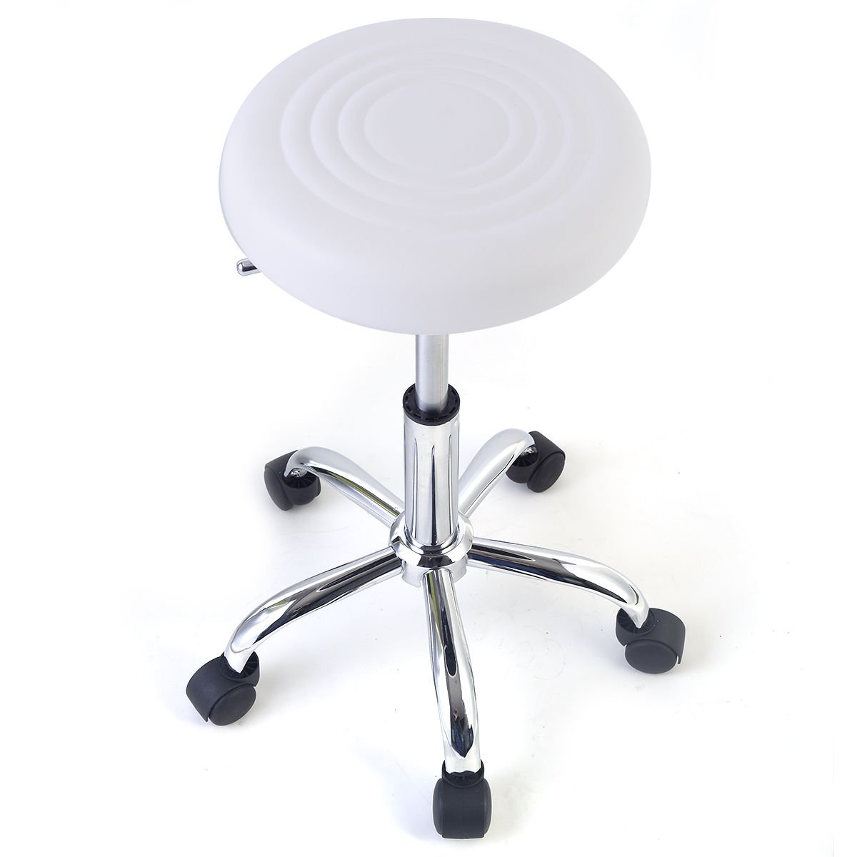 Hydraulic Rolling Swivel Stool Adjustable Tattoo Facial Massage Spa Salon White