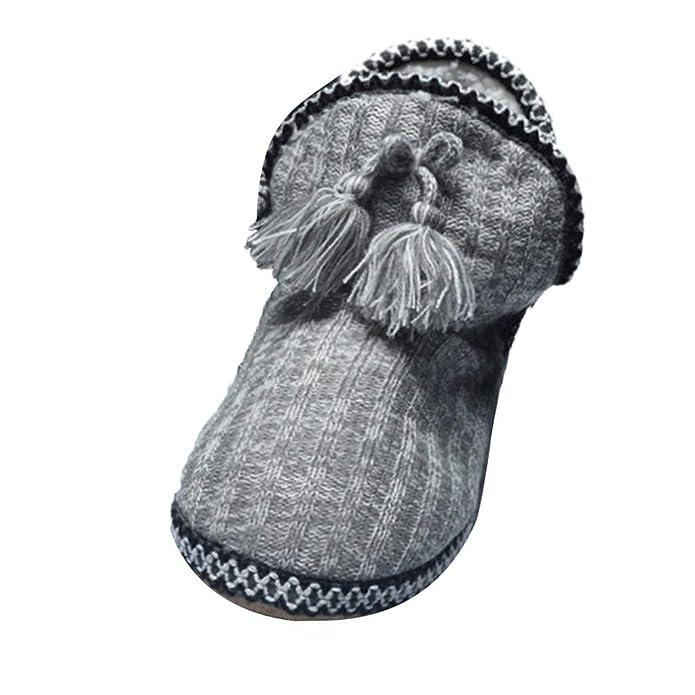 Sayla Zapatos Casual Moda De Los Hombres Invierno Zapatos De La Casa del Knit Botines De AlgodóN Acolchados CáLido Interior Botines Botas: Amazon.es: ...
