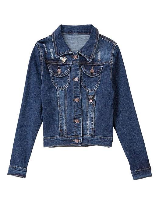 Corto Chaquetas Jacket De Mezclilla Slim Fit Manga Larga Abrigo Denim Jackets para Mujer: Amazon.es: Ropa y accesorios