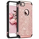 """iPhone 8 Case, iPhone 7 Case, BENTOBEN Luxury Sparkly Bling Glitter 2 in 1 Slim Hybrid Hard PC Back Cover Laminated with Shiny Leather Cover TPU Bumper Shockproof Anti-Scratch Protective Phone Cases for Apple iPhone 8/iPhone 7( 4.7""""), Rose Gold"""