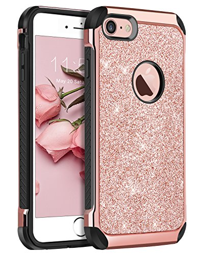 iPhone 8 Case,iPhone 7 Case,BENTOBEN Sparkly Glitter Luxury 2 in 1 Slim Hybrid Hard PC Girls Women Cover with Shiny Leather Shockproof Protective Case for Apple iPhone 8/7(4.7 inch),Rose Gold&Pink