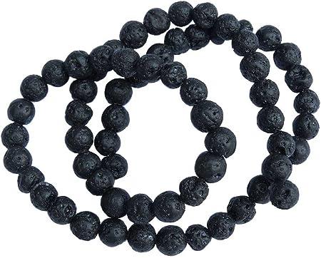 LAVA Perlen 10mm schwarz rund Lavaperlen Schmuckperlen 1 Strang gewachst