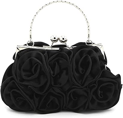 Kingluck Silk Shell with Flower Evening Handbags/Clutches/Top Handle Bags  More Colors Available, Black, 18cm (L) x 12cm (H) x 5cm (W).: Handbags:  Amazon.com
