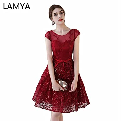 37a9c7f42080 Lamya 2018 Wine Red Short Evening Dresses Elegant Prom Party Ball Gowns
