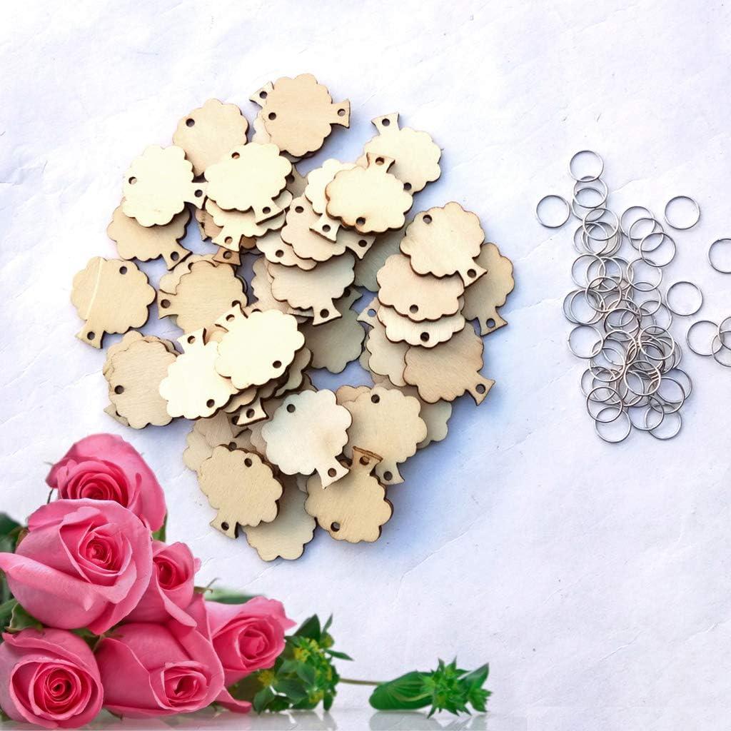 lijun 50 Piezas de rebanadas de Madera de /árbol con 50 bucles de Hierro para recordatorio de cumplea/ños Placa Colgante DIY Accesorios de Calendario decoraci/ón del hogar