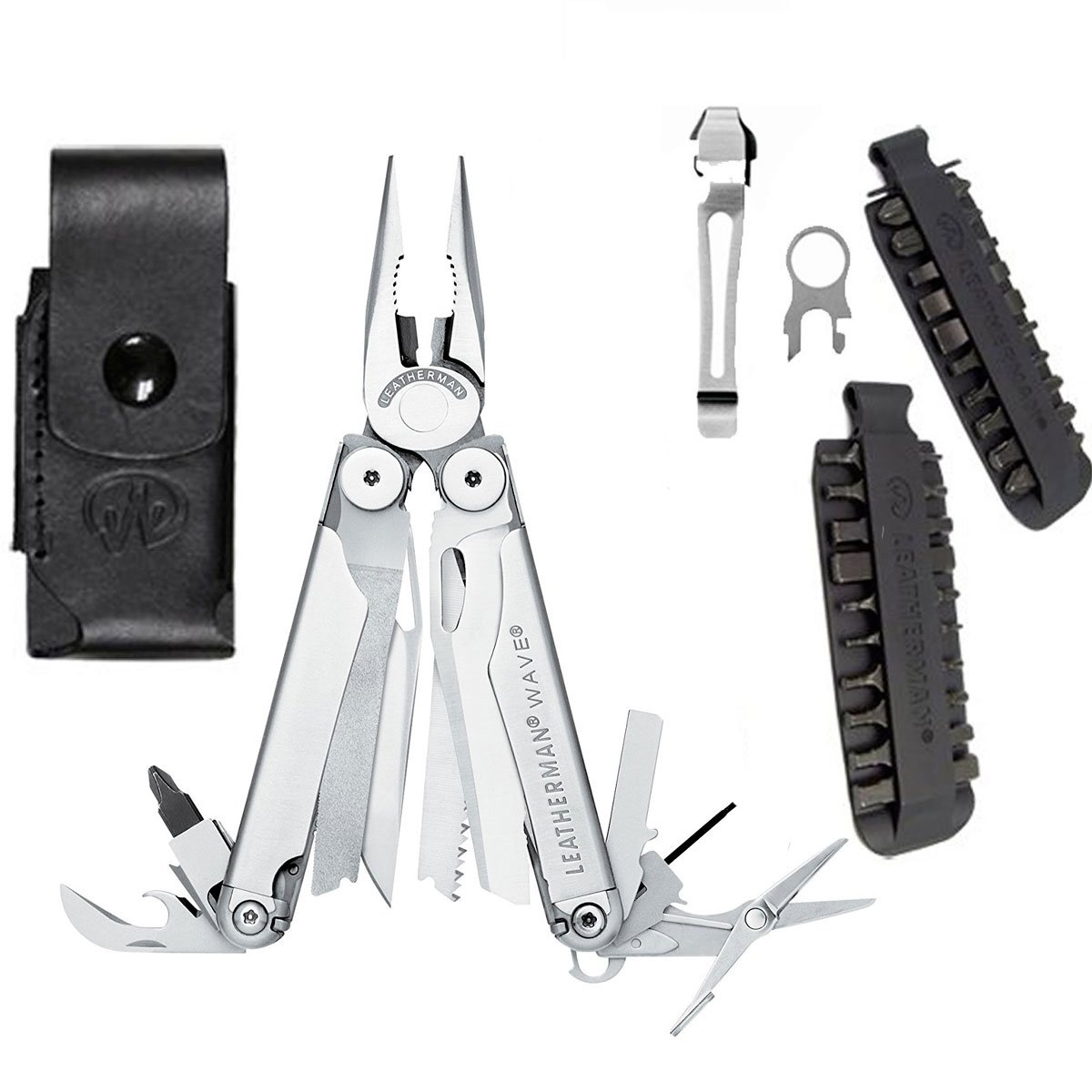 Leatherman New Wave Multitool with Leather/Nylon Combination Sheath + Leatherman 42 Piece Tool Steel Bit Kit + Removable Pocket Clip & Quick-Release Lanyard Ring