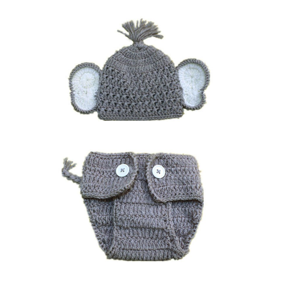 G-real 2pcs Newborn Baby Elephant Stretchy Knit Photo Baby Hat+Shorts Costume Set Photography Propsography Props