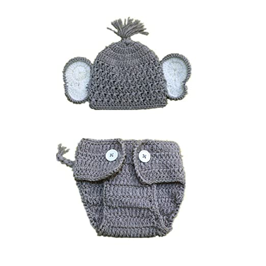 93e12207233 Amazon.com  G-real 2pcs Newborn Baby Elephant Stretchy Knit Photo Baby Hat+Shorts  Costume Set Photography Propsography Props (B(boy))  Clothing