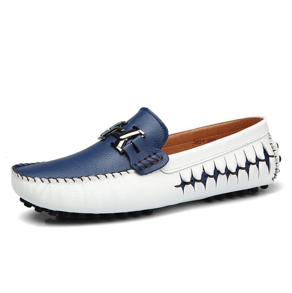 Zapatos de negocios de los hombres de cuero de vaca zapatos ocasionales transpirables perezosos viento británico zapatos de conducción de pie zapatos Doug hombre ( Color : Azul , Tamaño : 43 ) 43|Azul