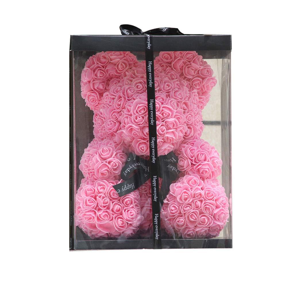 永遠の花ローズベアーガールフレンドラバーベアギフトボックスクリスマスバースデーギフト (色 : Pink) B07JN5B8SW Pink