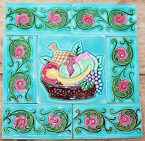 Vintage Set of Fruit Basket & 6 Border Design Art Nouveau Majolica Tiles JAPAN ()