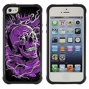Be-Star único patrón Impacto Shock - Absorción y Anti-Arañazos Funda Carcasa Case Bumper Para Apple iPhone 5 / iPhone 5S ( Skull Purple Black Death Electric Dead )