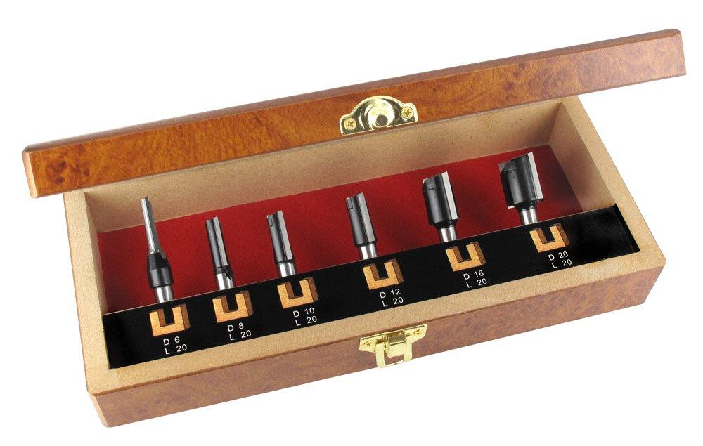 16 y 20 mm Eje /Ø 8 mm /Ø 6-8 10-12 Juego de 6 piezas ENT de fresas de corte recto HW con corte b/ásico afilado HW