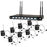 Pyle 8 Channel UHF Wireless Microphone System & Rack Mountable Base 8 Headsets, 8 Belt Packs, 8 Lavelier/Lapel MIC With Independent Volume Controls AF & RF Signal Indicators (PDWM8374)
