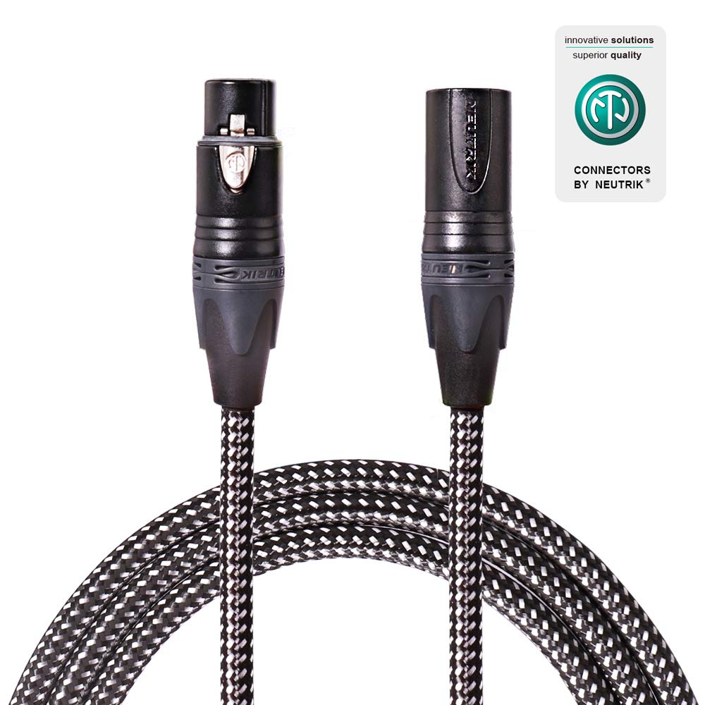 SPEAKFRIENDS Premium Original Neutrik 20ft Microphone Cable XLR Male to XLR Female Balanced Mic Cables, Black/Silvery Tweed