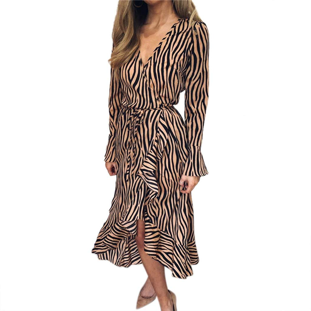 8210da3f59 Amazon.com: Women's Tiger Print V-Neck Striped Pinstripe Flounce Dip High  Low Hem Split Wrap Dress (Gray, XL): Kitchen & Dining