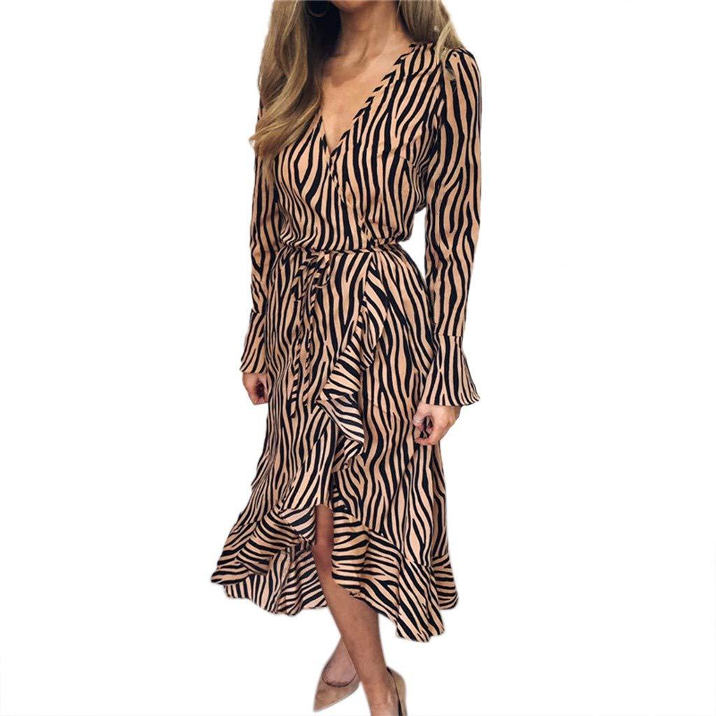 Pzhhzpingg Damen Langes Kleid Elegant Langarm V-Ausschnitt Strandkleid Tiger Muster Print Verband Sommerkleid Asymmetrische Midikleid Partykleid Abendkleid Blusenkleid