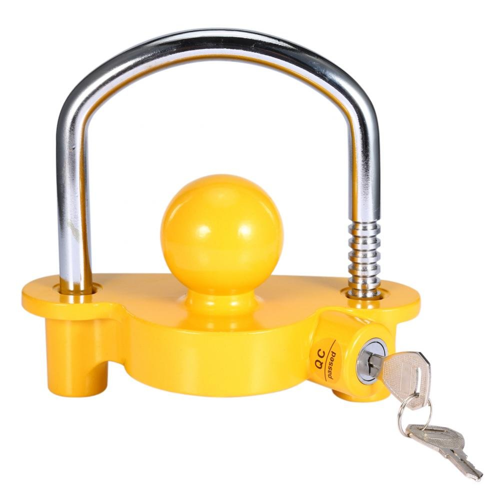 Universal Coupler LockAdjustable Universal Coupler Trailer Hitch Security Lock Storage Security Heavy-Duty Steel fits 1-7/8'', 2'' and 2-5/16'' couplers