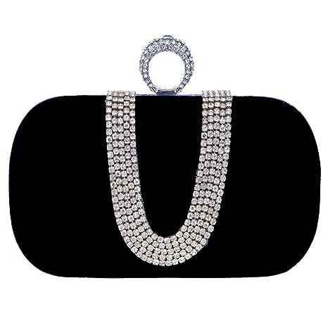 Boda Bolso Mujer Noche Bolsas Fiesta Carteras Mano Diamantes Cadena Embrague Negro