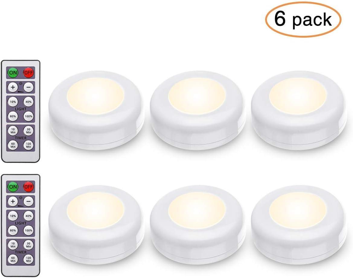 Elfeland Luces Nocturnas LED 6pcs Luces para Gabinetes RGB 4000K 120LM 2.4W Lámpara de Armario con Dos Remoto con Baterías (no Incluidas) Inalámbrica Blanca Cálida para Cocina Pasillo