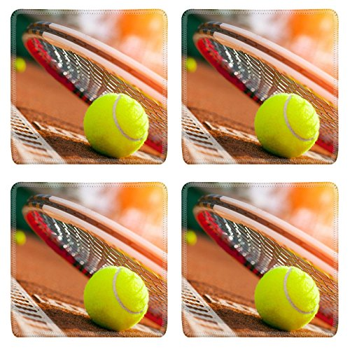 Luxlady Natural Rubber Square Coasters IMAGE ID 31645620 tennis ball on a tennis court