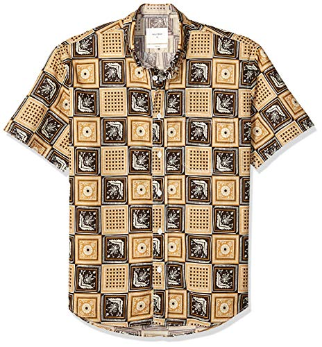 Horn Mother Of Black Pearl - Billy Reid Men's Standard Fit Short Sleeve Button Down Tuscumbia Shirt, Black/Gold Savannah Tile, XL