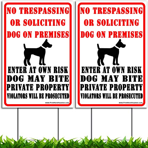 Vibe Ink 2 Pack Bundle Beware of Dog Sign No Trespassing - 12 x 18 inches - Double Sided Print - 4mm Corrugated Plastic - Waterproof - Metal H-Stake Included!