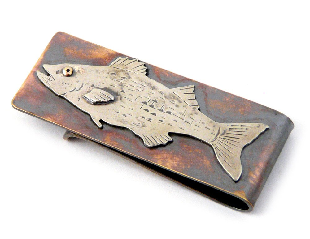 Artisan-Crafted Bronze Money Clip with Striped Bass Design by Modern Artisans