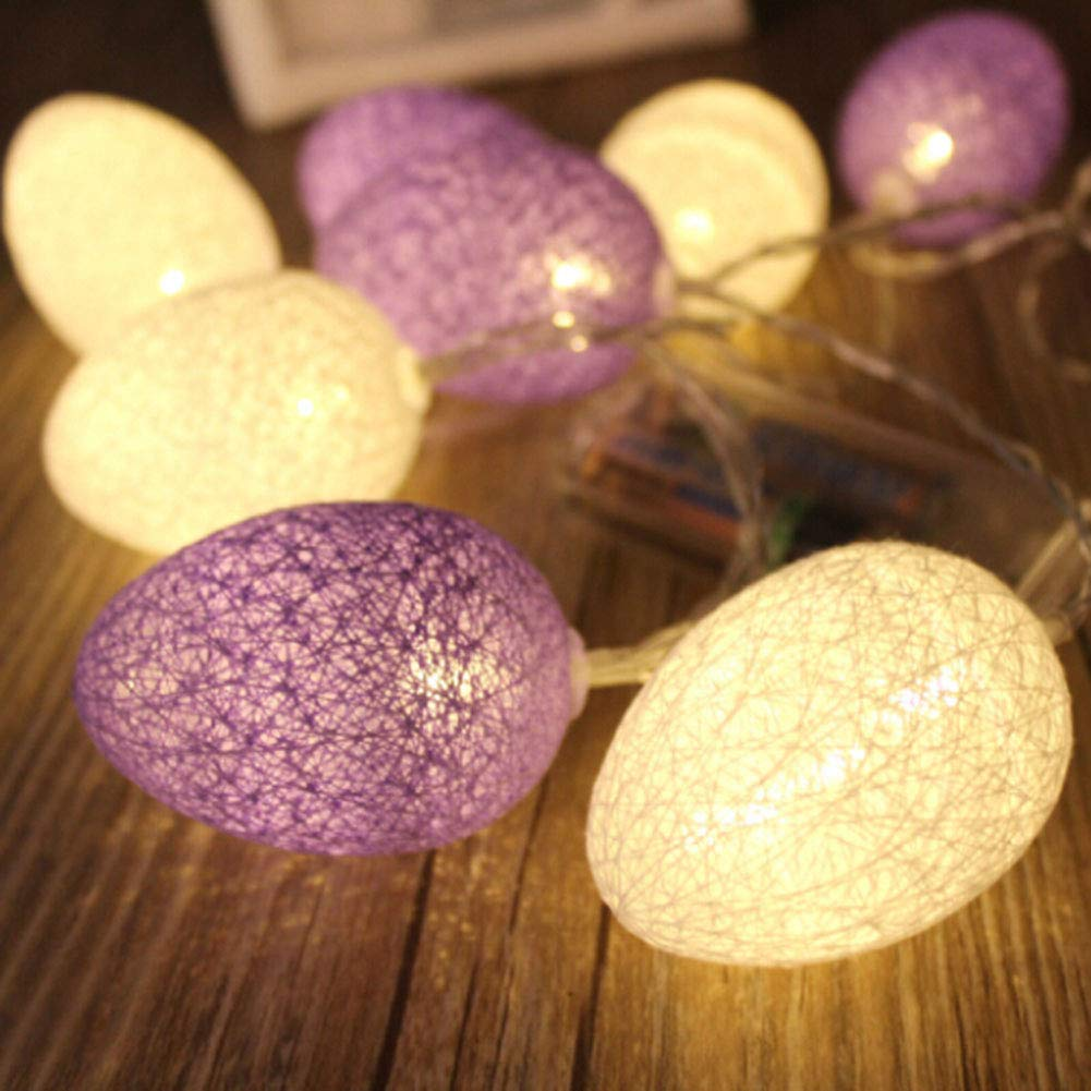 Beautyonline Easter Egg Lights, Battery Powered LED String Lights Decorative Lights for Easter, Birthday, Holiday, Wedding, Party, Kids Room, Home Decoration( S: 1.8M/5.9ft Style 04)