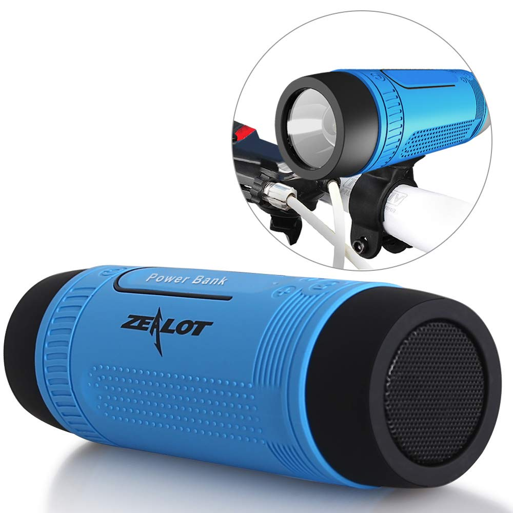 Bluetooth Bicycle Speaker Zealot S1 Bike Cycling Portable Speakers Waterproof, 4000mAh Power Bank, LED Light, TF Card Play, with Full Outdoor Accessories(Bike Mount, Carabiner.)(Blue) by ZEALOT