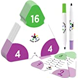 Multiplication and Division Flash Cards by Star Right - Triangle Math Flash Cards with Facts 0-12, Double Sided - Includes 2 Write and Wipe Cards and 2 Markers