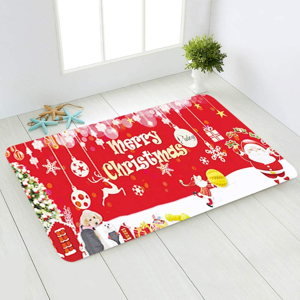 Pppby Christmas Doormat, with Heavy-Duty, Weather Resistant, Non-Slip, Door Mat Floor Pads for Home Decoration Xmas Gift Outdoor Entrance Indoor A