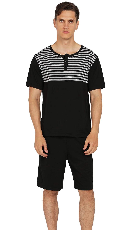 YIMANIE Mens Pajama Set Soft Cotton Short//Long Sleeves and Shorts//Pant Classic Plaid Sleepwear Lounge Set
