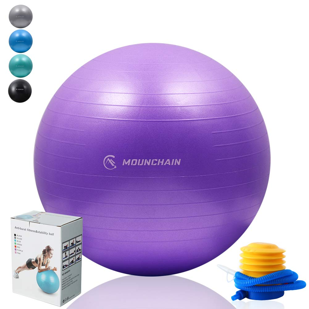 Mounchain Yoga Ball for Fitness, Exercise Ball 2000lbs Anti Burst Equipment for Home Workout, Balance, Gym, Yoga, Desk Chairs (Purple, 55cm)