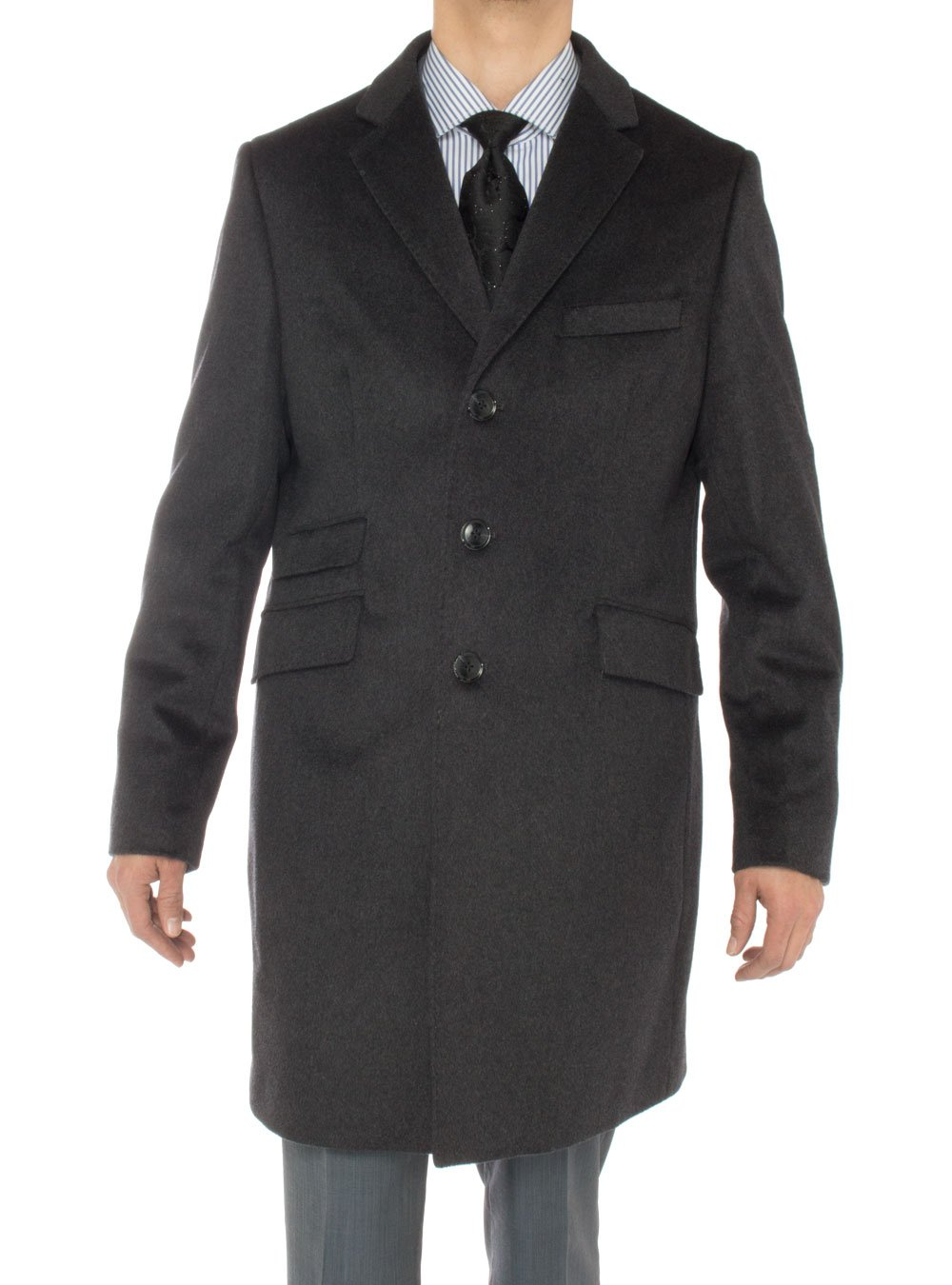 Luciano Natazzi Men's Cashmere Topcoat Modern Ticket Pocket Trench Coat Overcoat (42 US - 52 EU, Charcoal Gray)