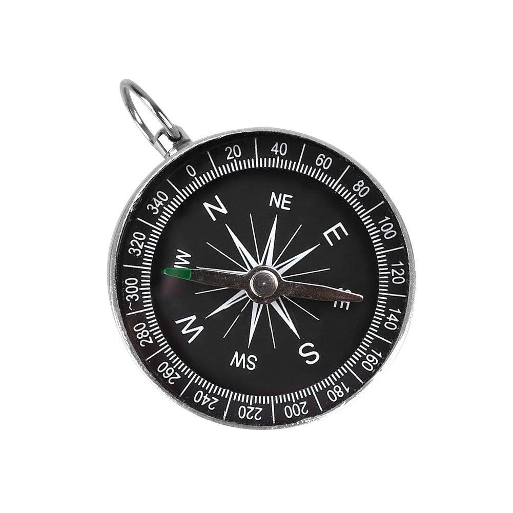 Forfar 1 Pcs Compass Noir Mini Aluminium Randonnée Camping Légère extérieure Voyage sauvage Outil de navigation Kits de survie