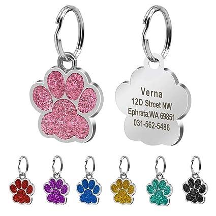 Beirui Placas de identificación Huellas Personalizadas en Acero Inoxidable de 24 mm para Perros y Gatos, con Grabado láser, Rosa Claro, S (0.9