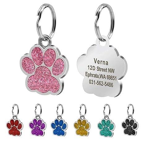 Beirui Placas de identificación Huellas Personalizadas en Acero Inoxidable de 24 mm para Perros y Gatos, con Grabado láser, Rosa Claro, L (1.5