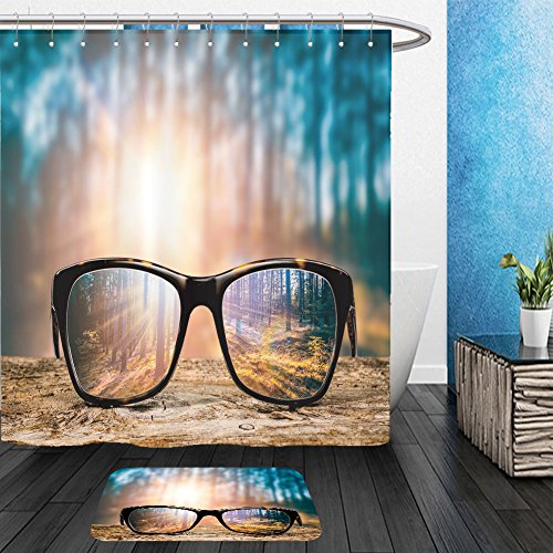 Vanfan Bathroom 2 Suits 1 Shower Curtains & 1 Floor Mats glasses focus background wooden eye vision lens eyeglasses nature reflection look looking through 520314205 From Bath - Toronto Eyeglasses