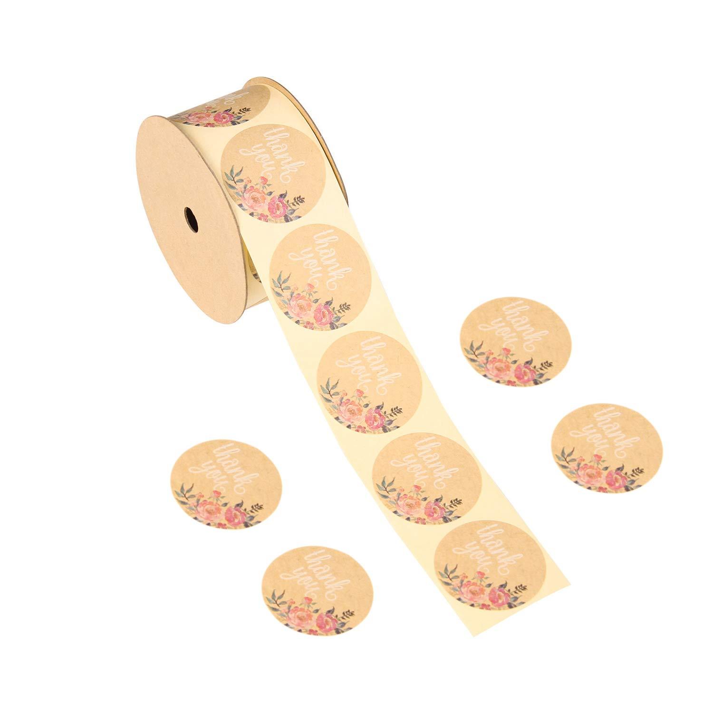 RUSPEPA Adesivo floreale foglia oro - Etichetta adesiva cerchio rotondo per regali di nozze, fatto a mano, Cupcake - Con grazie d'amore - Confezione da 100 pezzi
