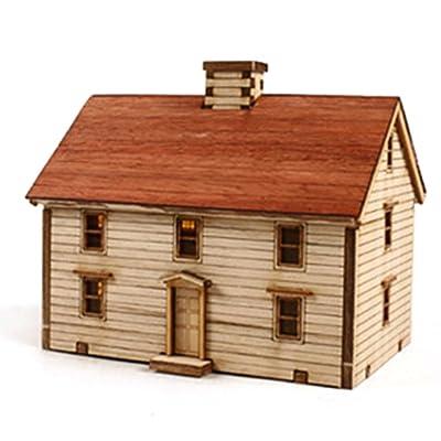 Young Modeler HO Serises Desktop Wooden Model Kit Western Farmhouse YM623: Toys & Games