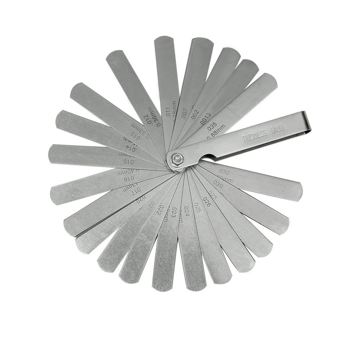 Meowoo Jauge d'é paisseur en acier Feeler Gauge Thickness gauge Outil de mesure d'é cart mé trique & impé rial double marquage, 0.04mm(0.0015 in)-0.88mm(0.035 in), 32 lames (1 PC) UK-Meo-Steel Feeler Gauge-1PC