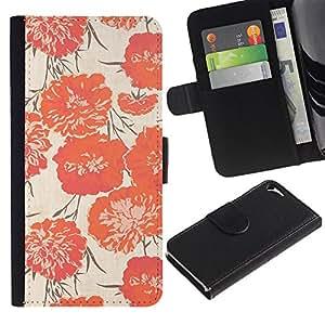 For Apple iPhone 5 / iPhone 5S,S-type® Peach Vignette Wallpaper Flowers - Dibujo PU billetera de cuero Funda Case Caso de la piel de la bolsa protectora