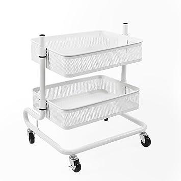 Bremermann® Carro utilitario ajustable de 2 niveles con 2 cestas (blanco): Amazon.es: Hogar
