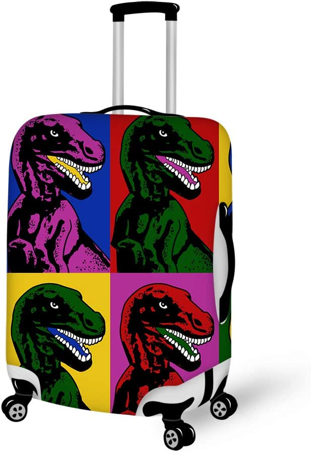 colorful dinasaur Washable Foldable Luggage Cover Protector Fits 18-21Inch Suitcase Covers