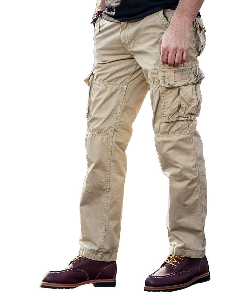 EKLENTSON Men's Rip Stop Combat Tactical Military Pants Cotton Work Cargo Pants with Multi Pockets EK-56
