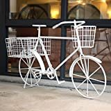 European-style iron flower frame floor-style multi-layer creative bicycle flower rack ( Color : White )