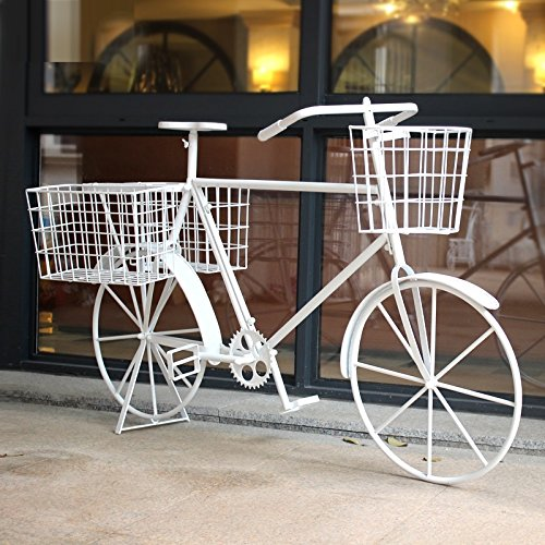 European-style iron flower frame floor-style multi-layer creative bicycle flower rack ( Color : White ) by Flower racks - xin