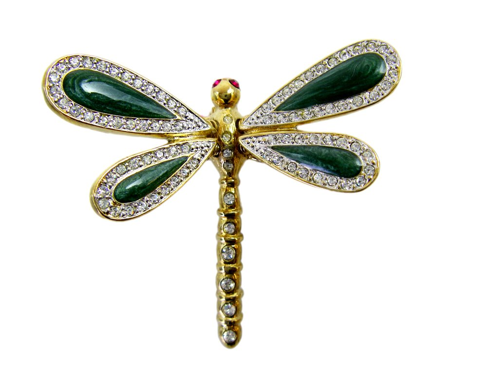 Gold tone Emerald Swirl Spring Wings Dragonfly Pin