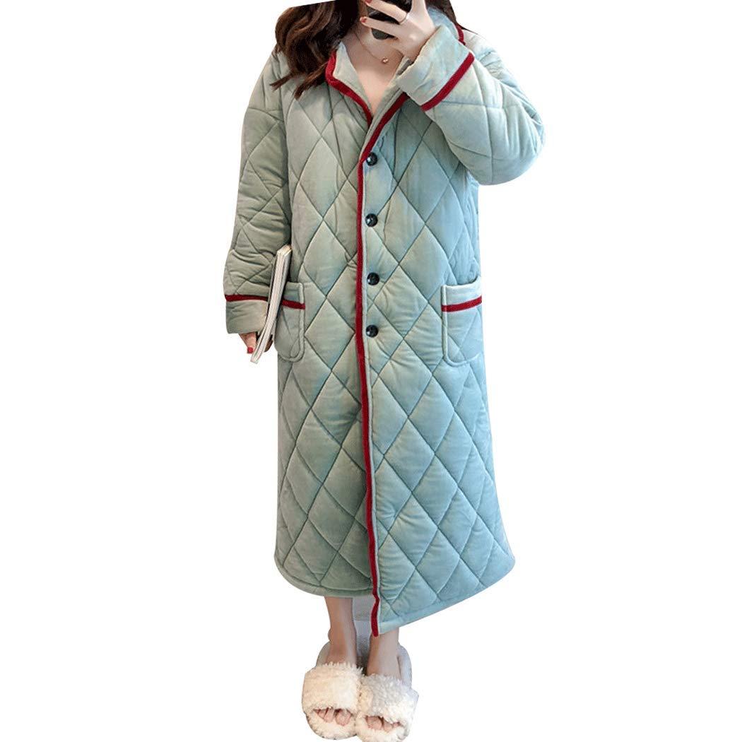 bluee YONGYONG Women's Pajamas Plus Long Winter Thick Coral Fleece Bathrobe 3 Layer Structure Geometric Pattern Bedroom Pajamas (color   Pink, Size   116cm(070KG))